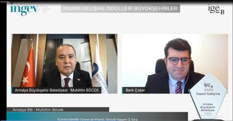 Antalya Büyükşehir'e İNGEV'den iki ödü