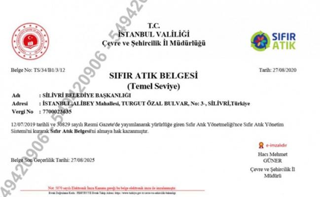 Silivri Belediyesi'ne sıfır atık belgesi