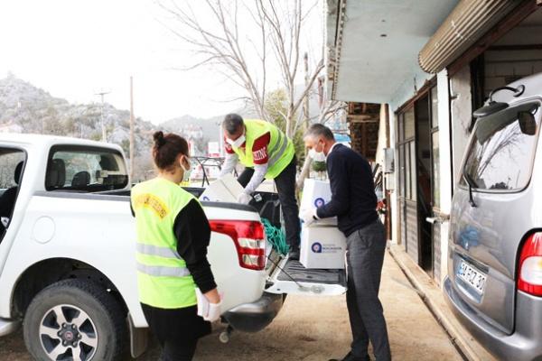 Karantinaya  alınan mahalleye yardım