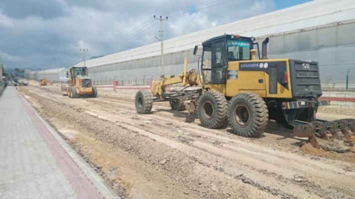 Alanya Belediyesi'nden sıkıştırılmış beton yol