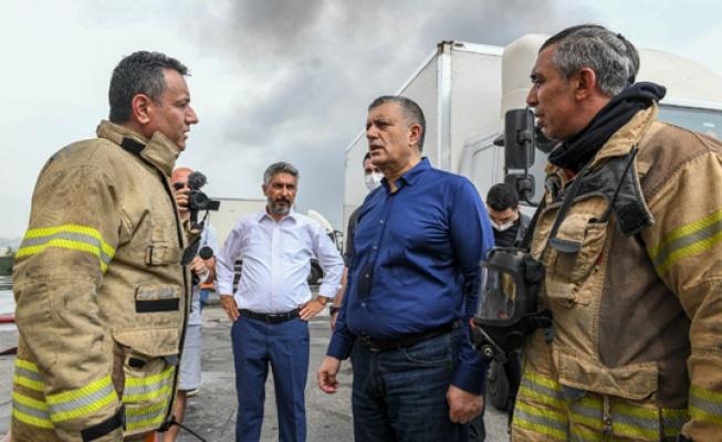Esenyurt'ta  Belediye'den yangın söndürmeye destek