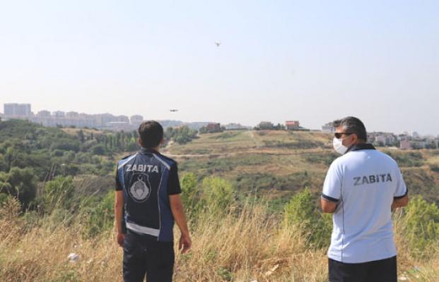 Yangın ihtimaline karşı droneli denetim