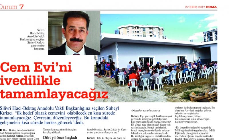 Kırkıcı: Silivri Cemevi'ni en kısa sürede tamamlayacağız
